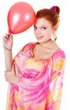 Ragazza di Smilling con baloon Fotografia Stock