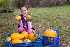 Ragazza di sorriso, autunno ritenente Fotografia Stock Libera da Diritti