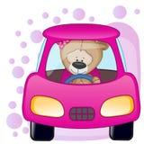 Ragazza di Teddy Bear in un'automobile Fotografie Stock Libere da Diritti