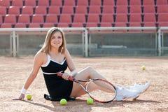 Ragazza di tennis. immagine stock