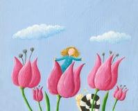 Ragazza di Thumbelina della bambina nel tulipano illustrazione di stock