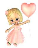 Ragazza di Toon con l'aerostato dentellare del cuore royalty illustrazione gratis