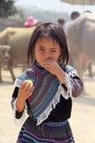 Ragazza di Yang nel mercato locale dal gruppo etnico colorato di Hmong Fotografia Stock Libera da Diritti