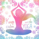 Ragazza di yoga con il modello Immagine Stock Libera da Diritti