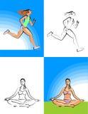 Ragazza di yoga e di forma fisica Royalty Illustrazione gratis