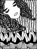 Ragazza di Zentangle Fotografia Stock