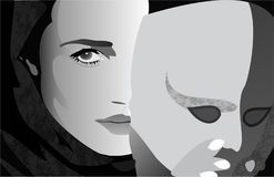 Ragazza dietro la maschera Fotografie Stock Libere da Diritti