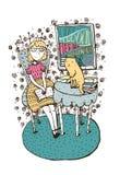 Ragazza disegnata a mano che si siede con il libro aperto ed il gatto sulla tavola Iscrizione con la citazione circa istruzione,  Fotografia Stock