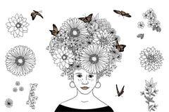 Ragazza disegnata a mano con i capelli del fiore Immagini Stock Libere da Diritti
