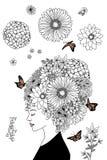Ragazza disegnata a mano con i capelli del fiore Fotografia Stock