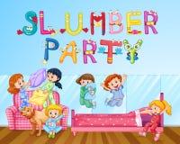 Ragazza divertendosi al pigiama party in camera da letto illustrazione di stock