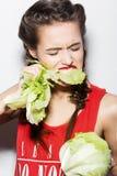 Ragazza divertente audace con le trecce e le labbra rosse Fotografia Stock Libera da Diritti