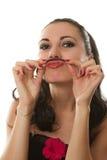 Ragazza divertente con i baffi dai capelli Fotografia Stock Libera da Diritti