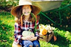 Ragazza divertente felice del bambino in cappello e camicia dell'agricoltore che giocano e che selezionano il raccolto della verd Fotografia Stock Libera da Diritti