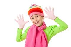 Ragazza divertente in vestiti di inverno Immagine Stock