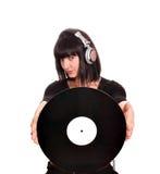 Ragazza DJ con il lp Fotografia Stock