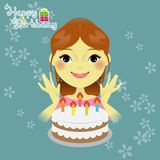 Ragazza dolce con la torta di compleanno Immagini Stock