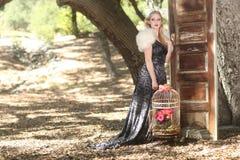 Ragazza dolce in una regolazione all'aperto romantica di legni Immagini Stock