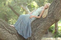 Ragazza dolce in una regolazione all'aperto romantica di legni Fotografie Stock Libere da Diritti