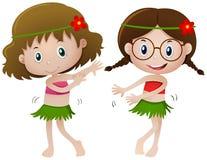 Ragazza due nel dancing del costume dell'Hawai royalty illustrazione gratis