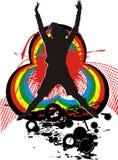 Ragazza e ballo del Rainbow illustrazione vettoriale