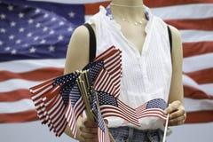Ragazza e bandiere Fotografia Stock Libera da Diritti
