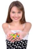 Ragazza e Candy Fotografie Stock Libere da Diritti