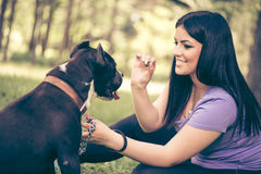 Ragazza e cane fotografia stock