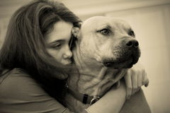 Ragazza e cane teenager depressi tristi