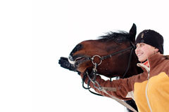 Ragazza e cavallo isolati Fotografia Stock