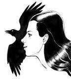 Ragazza e corvo Fotografia Stock Libera da Diritti