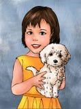 Ragazza e cucciolo svegli, ragazza sveglia, cucciolo sveglio, cane, bambino sveglio della ragazza, animale, umano, bambino, propr illustrazione di stock