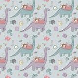 Ragazza e dinosauro addormentati Sogni dolci della buona notte fotografia stock