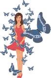 Ragazza e farfalle Fotografia Stock Libera da Diritti