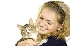 Ragazza e gatto Fotografie Stock Libere da Diritti