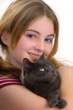 Ragazza e gatto Fotografia Stock Libera da Diritti