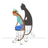 Ragazza e gatto illustrazione di stock