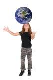 Ragazza e grande sfera rossa fotografia stock libera da diritti