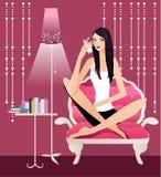 Ragazza e latte royalty illustrazione gratis