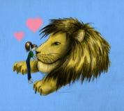 Ragazza e leone enorme Fotografia Stock Libera da Diritti