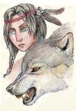 Ragazza e lupo illustrazione vettoriale