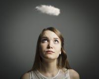 Ragazza e nuvola Fotografia Stock Libera da Diritti