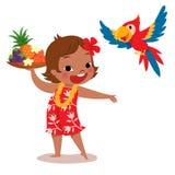 Ragazza e pappagallo tropicali dell'isola illustrazione di stock