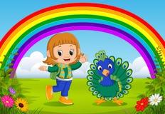 Ragazza e pavone svegli al parco con la scena dell'arcobaleno illustrazione vettoriale