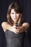 Ragazza e pistola Fotografie Stock Libere da Diritti