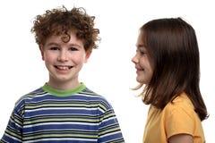 Ragazza e ragazzo Fotografie Stock Libere da Diritti