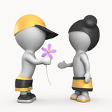 Ragazza e ragazzo con l'illustrazione del fiore 3D Fotografia Stock Libera da Diritti