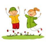 Ragazza e ragazzo di salto felici Illustrazione di vettore dei bambini di gioia Fotografie Stock