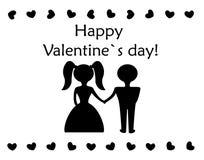 Ragazza e ragazzo sulla carta felice di giorno di biglietti di S. Valentino Fotografia Stock