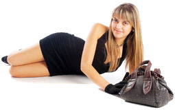 Ragazza e sacchetto fotografia stock